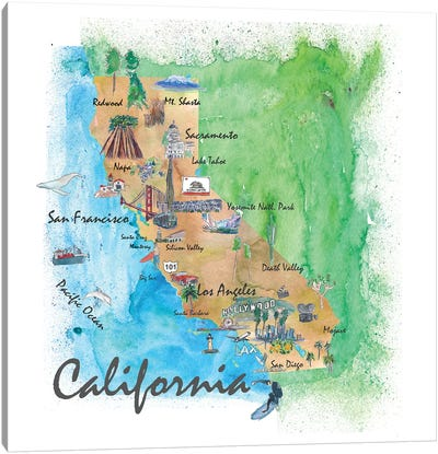 USA, California Travel Poster Canvas Art Print