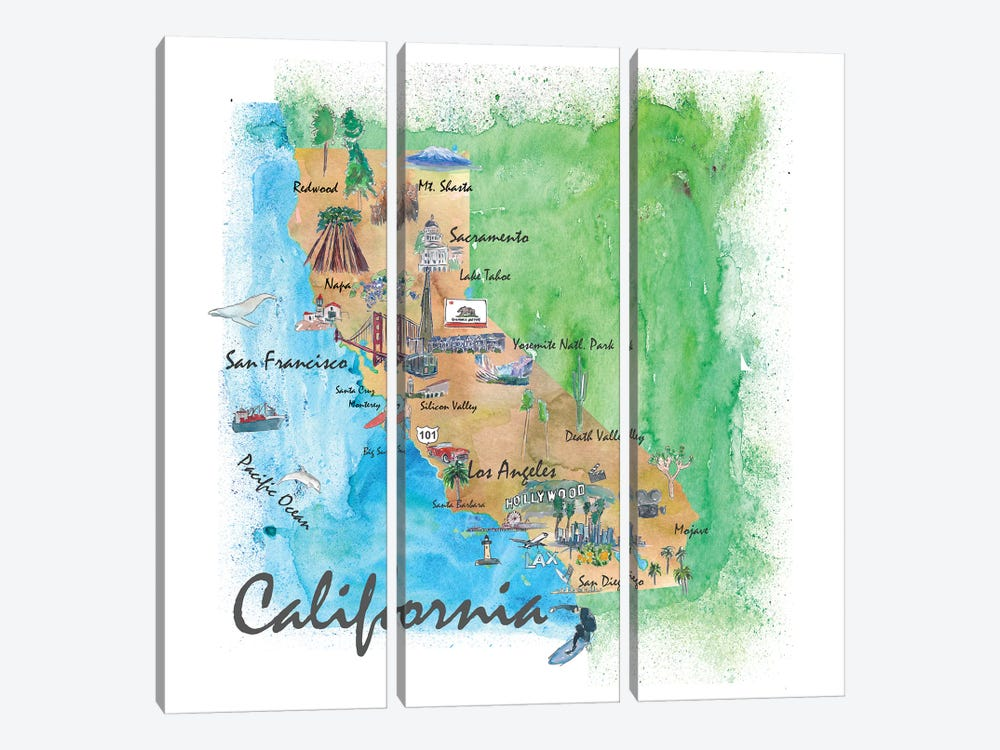 USA, California Travel Poster by Markus & Martina Bleichner 3-piece Canvas Art Print