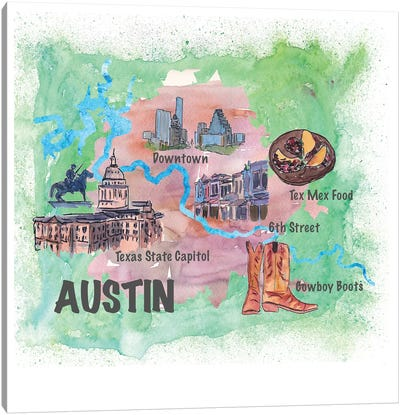 Austin, Texas Travel Poster Canvas Art Print