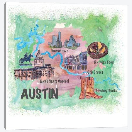 Austin, Texas Travel Poster Canvas Print #MMB3} by Markus & Martina Bleichner Canvas Art Print