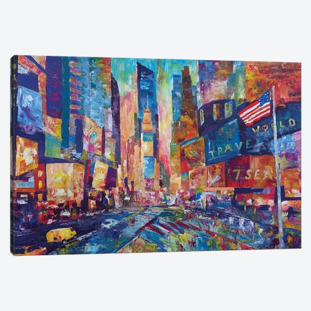 Nyc Timeless Times Square With Us Flag In Manhattan Canvas Print #MMB400} by Markus & Martina Bleichner Canvas Art Print