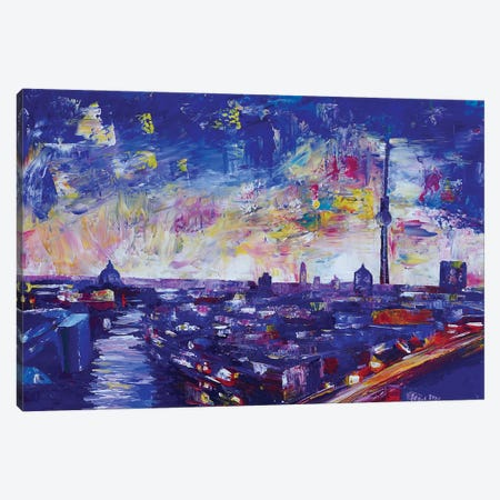Berlin Impressive Skyline At Night Canvas Print #MMB401} by Markus & Martina Bleichner Canvas Print