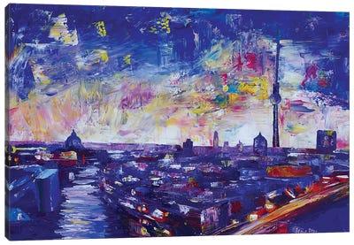 Berlin Impressive Skyline At Night Canvas Art Print