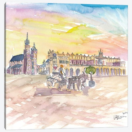 Krakow Poland Marketplace With Cathdral Canvas Print #MMB407} by Markus & Martina Bleichner Canvas Artwork