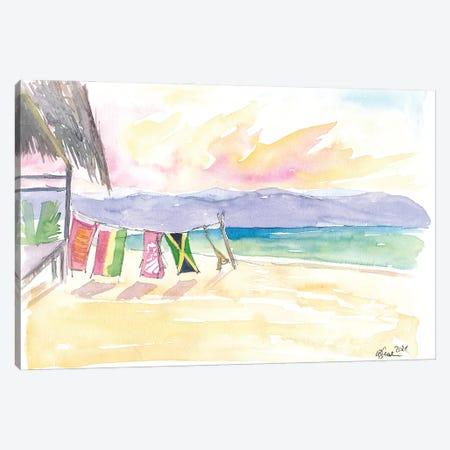Caribbean Beach In Jamaica With Mountain View Canvas Print #MMB408} by Markus & Martina Bleichner Canvas Print