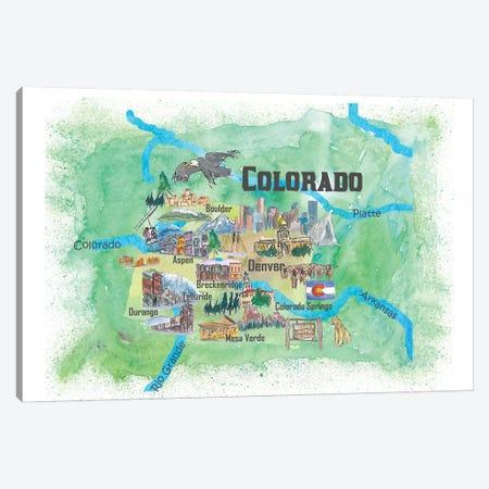 USA, Colorado Illustrated Travel Poster Canvas Print #MMB40} by Markus & Martina Bleichner Canvas Art Print