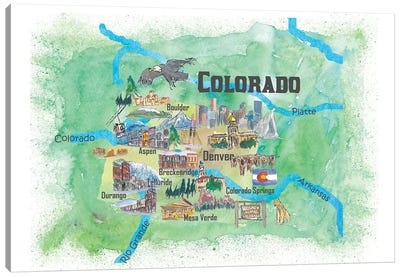 USA, Colorado Illustrated Travel Poster Canvas Art Print