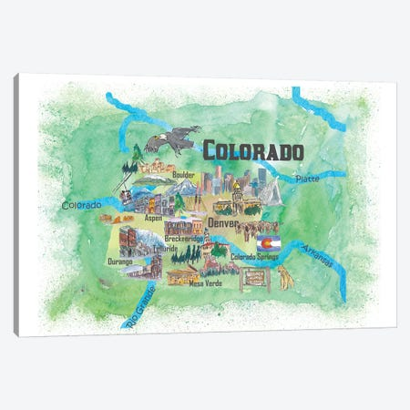 USA, Colorado Illustrated Travel Poster Canvas Print #MMB40} by Markus & Martina Bleichner Canvas Art Print