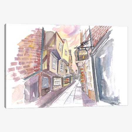 York Yorkshire England The Shambles Street Scene Canvas Print #MMB411} by Markus & Martina Bleichner Canvas Wall Art
