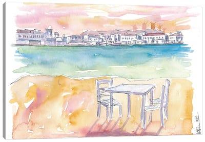 Relaxing On Splendid Island Of Mykonos Greece Canvas Art Print