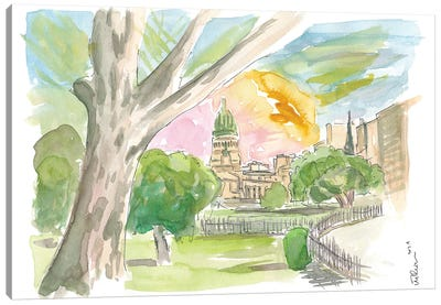 Buenos Aires Relaxing In Park With Congress View Canvas Art Print