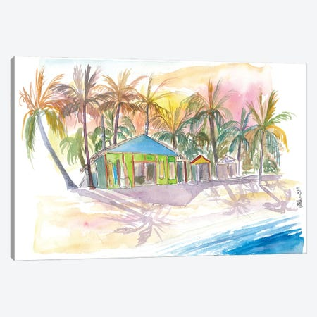 Dominican Republic Beach In Punta Cana With Shops Canvas Print #MMB415} by Markus & Martina Bleichner Art Print