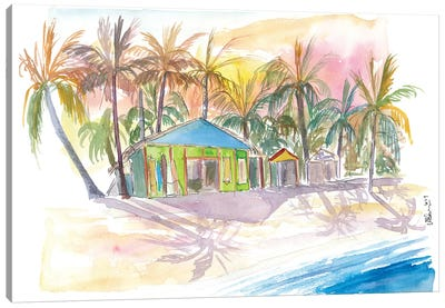 Dominican Republic Beach In Punta Cana With Shops Canvas Art Print