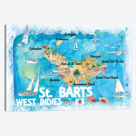 St Barts Antilles Illustrated Caribbean Map With Highlights Of West Indies Island Dream Canvas Print #MMB417} by Markus & Martina Bleichner Canvas Art Print