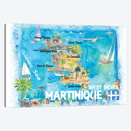 Martinique Antilles Illustrated Caribbean Map With Highlights Of West Indies Island Dream Canvas Print #MMB418} by Markus & Martina Bleichner Canvas Artwork