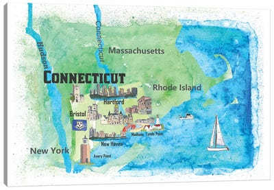 USA, Connecticut Travel Poster Canvas Art Print