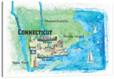 USA, Connecticut Travel Poster Canvas Art Print