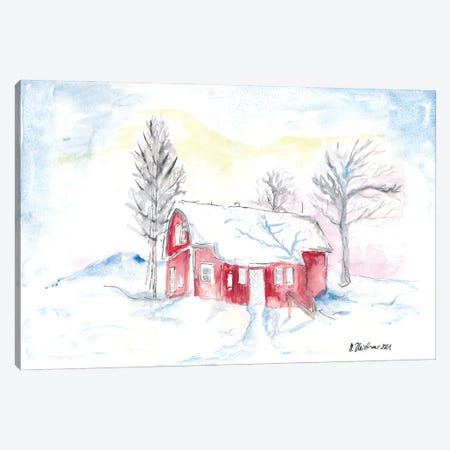 Afternoon Sun During Scandinavian Winter With Red House Canvas Print #MMB423} by Markus & Martina Bleichner Art Print