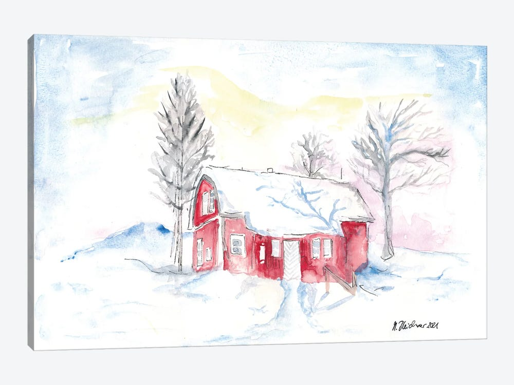 Afternoon Sun During Scandinavian Winter With Red House by Markus & Martina Bleichner 1-piece Canvas Print