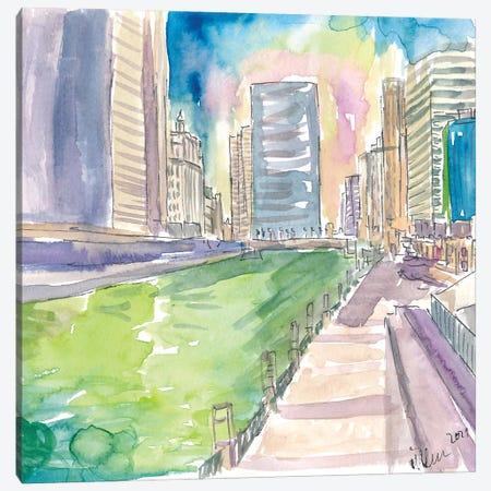 Chicago Illinois Green River Saint Patricks Day Canvas Print #MMB425} by Markus & Martina Bleichner Canvas Artwork