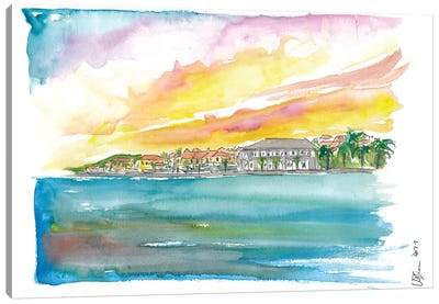 Gustavia St Barts Waterfront At Sunset In The Caribbean Canvas Art Print
