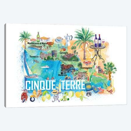 Cinque Terre Italy Illustrated Caribbean Travel Map Canvas Print #MMB429} by Markus & Martina Bleichner Canvas Art Print
