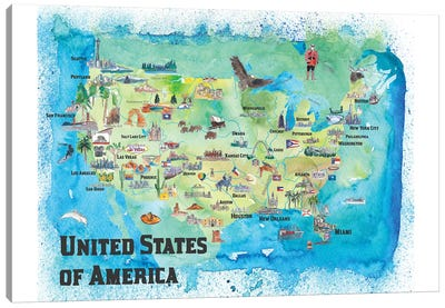 USA, Continental States Map With Highlights And Favorites Canvas Art Print