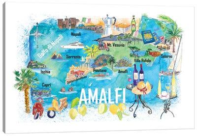 Amalfi Italy Illustrated Caribbean Travel Map Canvas Art Print