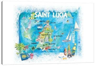 St Lucia Antilles Illustrated Caribbean Travel Map Canvas Art Print