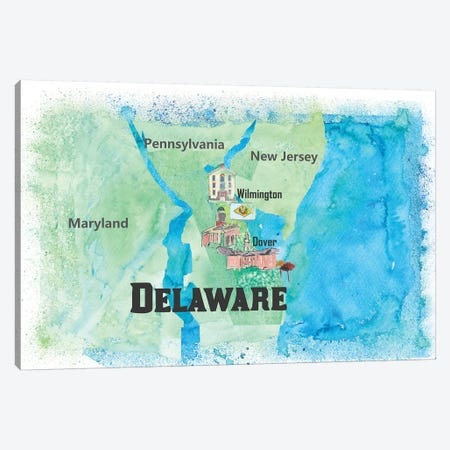 USA, Delaware Travel Poster Canvas Print #MMB43} by Markus & Martina Bleichner Art Print