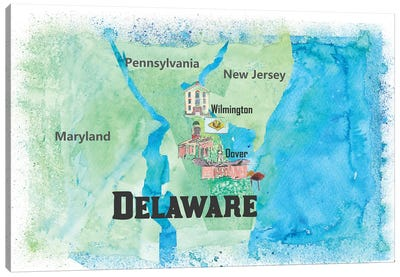 USA, Delaware Travel Poster Canvas Art Print