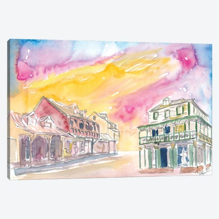 St Lucia Soufriere Street Scene In Golden Sunlight Canvas Print #MMB441} by Markus & Martina Bleichner Canvas Print