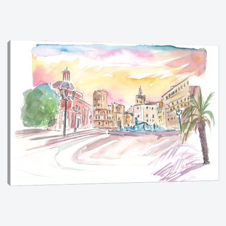 Valencia Placa De Mare De Deu Street Scene Canvas Print #MMB442} by Markus & Martina Bleichner Canvas Print