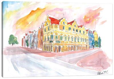 Historic Handelskade Willemstad Curacao At Sunrise Canvas Art Print