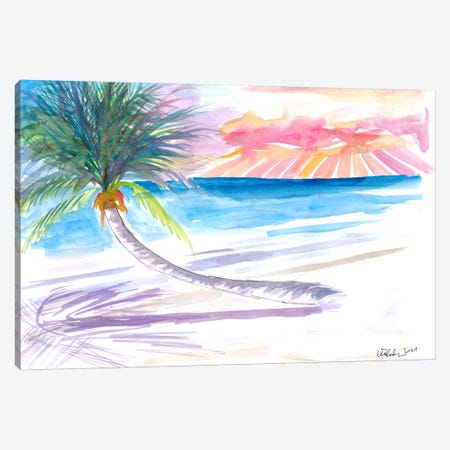 Leaning Palm For Relaxing On Tortola British Virgin Islands Canvas Print #MMB447} by Markus & Martina Bleichner Canvas Wall Art