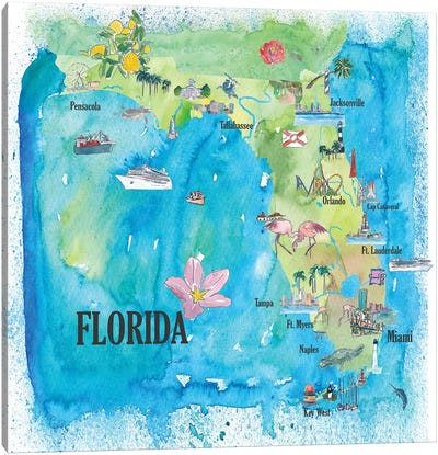 USA, Florida Travel Poster Canvas Art Print