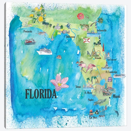 USA, Florida Travel Poster Canvas Print #MMB44} by Markus & Martina Bleichner Canvas Artwork