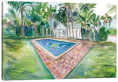 Blue Backyard Pool With Conch House In Key West Fl Canvas Art Print
