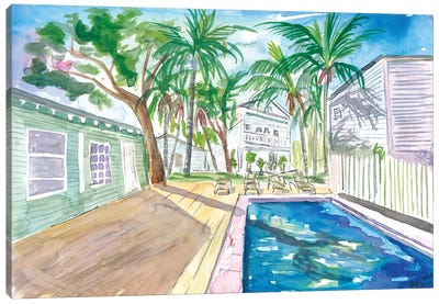 White Fences In Key West With Conch Pool In The Sun Canvas Art Print