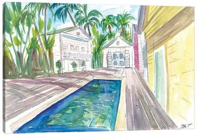 Yellow Conch Dreams In Key West With Cool Pool Canvas Art Print