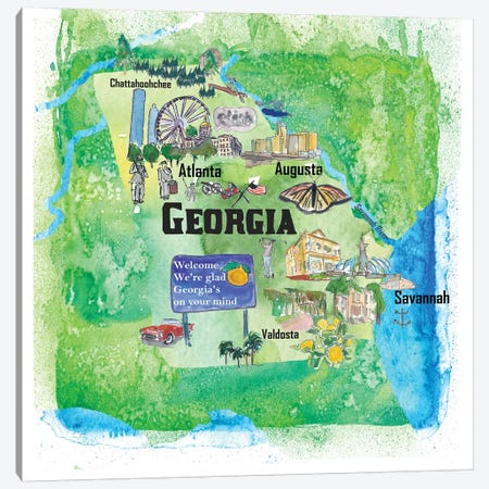 USA, Georgia Illustrated Travel Poster Canvas Print #MMB45} by Markus & Martina Bleichner Canvas Artwork