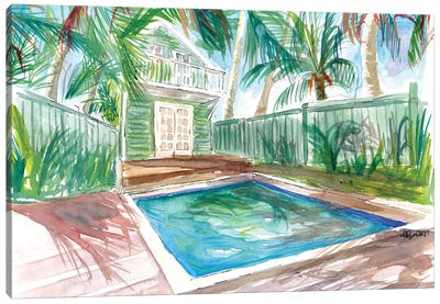 Zen And Serenity Pool With In Key West Fl Canvas Art Print
