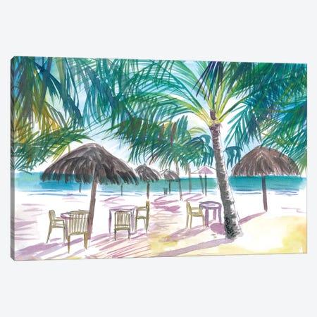 Caribbean Beach Bar Restaurant Under Palms Canvas Print #MMB463} by Markus & Martina Bleichner Canvas Art Print