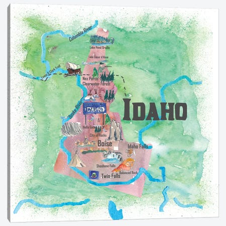 USA, Idaho Illustrated Travel Poster Canvas Print #MMB46} by Markus & Martina Bleichner Canvas Wall Art