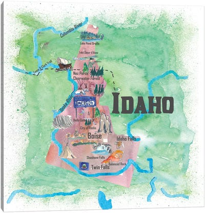 USA, Idaho Illustrated Travel Poster Canvas Art Print