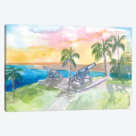 Tobago Fort George With Cannons At Sunrise Canvas Print #MMB471} by Markus & Martina Bleichner Canvas Artwork