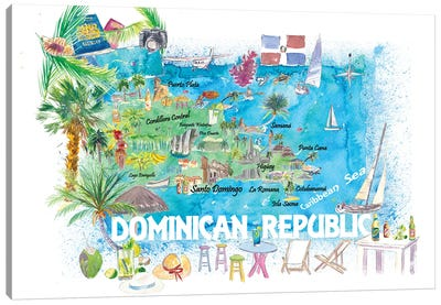 Dominican Republic Illustrated Travel Map With Roads And Highlights Canvas Art Print