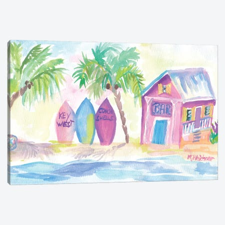 Surf Beach Bar With Boards In Key West Canvas Print #MMB475} by Markus & Martina Bleichner Art Print