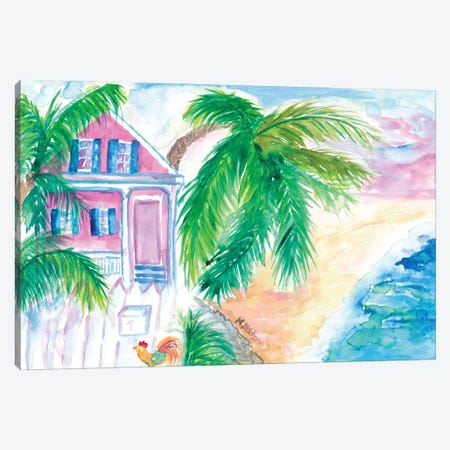 Key West Conch House And Beach With Rooster Canvas Print #MMB476} by Markus & Martina Bleichner Canvas Print