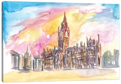 Manchester England Town Hall In Warm Sunlight Canvas Art Print